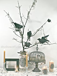 DIY Halloween Raven Tree. Halloween Decorating.