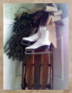 Vintage skates and sled