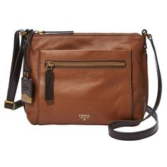 Richly textured leather defines a subtly slouchy crossbody bag designed with plenty of pockets to provide organizational ease on the go.    Brand: Fossil.  Sty…