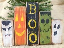 Primitive Boo Ghost Pumpkin Dracula Monster Halloween Shelf Sitter Wood Blocks