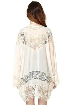 Discover women's LUCLUC White Cut Out Lace Long Sleeve Chiffon Kimono with…