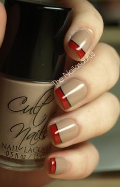 Red and black stripe - Change the nude color for white and you've got Poke-ball nails!