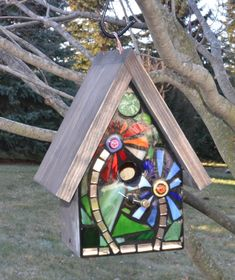 Stained Glass Mosaic Birdhouse FRONT ONLY made to order, Custom design. $52.00, via Etsy.