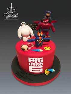 Big Hero 6 Theme birthday cake - Big Hero 6 party cake with Baymax, Hiro, Fred and the powers of other characters. www.facebook/com/gourmetstrategist