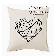 Geometric Heart Diy Kit Throw Pillow Cover You Color Love Tattoos, Body Art Tattoos, Heart Cushion, Heart Pillow, Private Tattoos, Throw Pillow Covers, Throw Pillows, Heart Diy, Office Prints