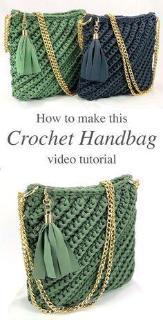 Easy-Crochet-Bag Crochet Knit by Beja - Free Patterns Videos How To Bag Crochet, Crochet Handbags, Crochet Purses, Crochet Crafts, Crochet Hooks, Crochet Baby, Crochet Projects, Knitting Projects, Crochet Bag Tutorials