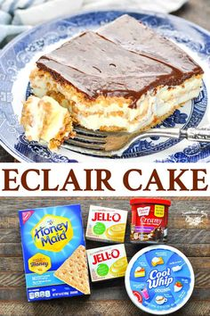 It doesn't get any easier than this no-bake chocolate Eclair Cake! Layers of graham crackers, vanilla pudding and Cool Whip are finished with a rich chocolate frosting for a creamy, dreamy dessert recipe that's perfect for any party or holiday! Easy Holiday Desserts, Quick Dessert Recipes, Easy No Bake Desserts, Desserts For A Crowd, Mini Desserts, Recipes Dinner, Desserts With Cool Whip, No Bake Recipes, Recipes With Cool Whip