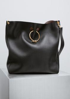 e3fda0ed8b322 J.W. Anderson Large Hobo Pierce Bag (Black) Large Tote, Soft Leather,  Shoulder