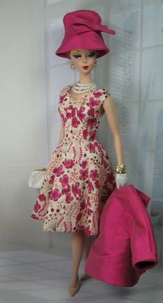 """I like the dress but am not wild about the hat: """"In Love"""" for Silkstone Barbie and Victoire Roux/ deep pink Barbie I, Barbie World, Barbie Dress, Barbie And Ken, Barbie Clothes, Barbie Outfits, Barbie Style, Barbie Vintage, Barbie Patterns"""