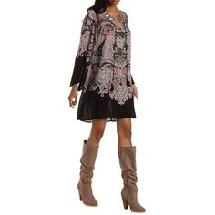 Charlotte Russe Black Combo Paisley Print Tie-Neck Shift Dress by... ($35) ❤ liked on Polyvore