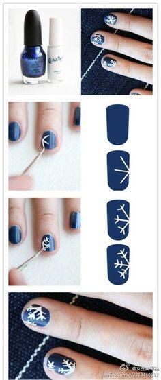 DIY Snowflakes Nail DIY Projects | UsefulDIY.com Follow us on Facebook ==> https://www.facebook.com/UsefulDiy