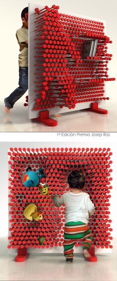 Pin Pres is a kid's room shelf that makes the act of sorting up the room a playful experience where the shelf adopts its form to the toys, books and other things that are being stored.