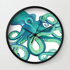 Buy Octopus - Blue and Green Palette Wall Clock by foxandivystudios. Worldwide shipping available at Society6.com. Just one of millions of high quality products available.