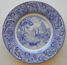 Antique Staffordshire China Blue Transferware Plate Ridgway Venice Venetian Gondola Scene with Victorian Scrolls