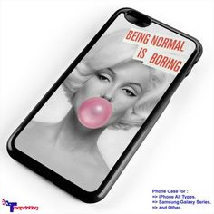 Marilyn Monroe With Pink Bubble Gum 2 - Personalized iPhone 7 Case, iPhone 6/6S Plus, 5 5S SE, 7S Plus, Samsung Galaxy S5 S6 S7 S8 Case, and Other