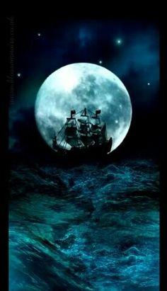 Pirate ship on a blue Moon & Ocean Foto Fantasy, Fantasy Art, Bateau Pirate, Behind Blue Eyes, Pirate Life, Beautiful Moon, Sail Away, Tall Ships, Pirates Of The Caribbean