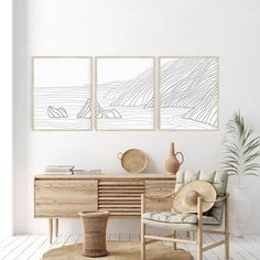 I'm not sure why, but I LOVE this piece. Something about its minimalism just makes me so happy! Tropical Home Decor, Coastal Decor, Diy Home Decor, Modern Coastal, Coastal Wall Art, Wall Decor Boho, Beach Home Decorating, Beach Chic Decor, Chic Beach House