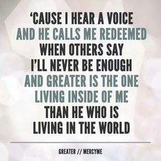 Mercy Me / Greater .......love listening to this album!!! So uplifting!!