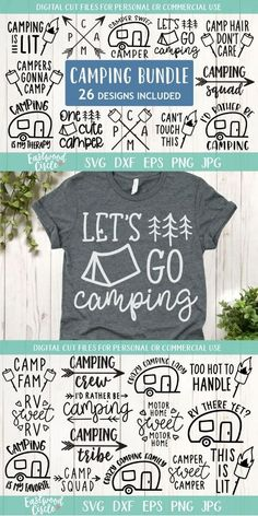 This camping SVG file bundle works great with the Cricut and Silhouette Cameo for crafters to make DIY projects such as shirts, signs, mugs, and more! Works great with heat transfer vinyl. Suv Camping, Camping Ideas, Camping Signs, Camping Hacks, Camping Guide, Camping Essentials, Camping Supplies, Camping List, Camping Crafts
