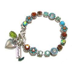 Mariana Spirit of Design Silver Plated Swarovski Crystal and Bead Bracelet in Turquoise/Topaz: Jewelry: Amazon.com
