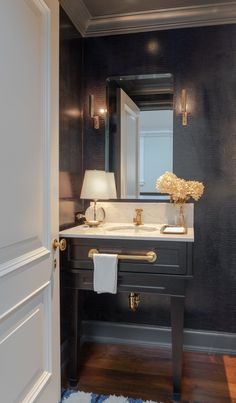 Black Powder Room, Blue Powder Rooms, Modern Powder Rooms, Powder Room Decor, Powder Room Design, Small Powder Rooms, Bathroom Styling, Bathroom Interior Design, Powder Room Vanity