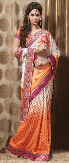 Off #White and #Orange Net and Brocade #Saree with Blouse @ $141.05