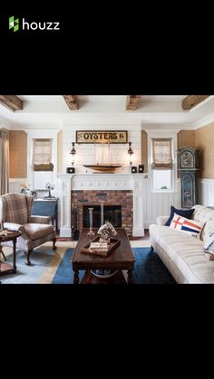 I love this fireplace surround. Everything except for the stars. Love he shiplap above be mantle and around the wall for the office (but a bit higher on the walls as we discussed).