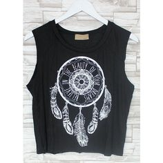 Believe Dreamcatcher Muscle Tank (Black) ($17) ❤ liked on Polyvore featuring tops, shirts, crop tops, black tank, black muscle tank, loose shirts, graphic shirts and loose tank tops