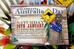 Australia Day Outback printable Invitation  Family BBQ Party by Sassaby