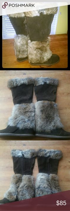 """Miz Mooz Wedge Boots 100% rabbit fur 1 FREE SHIRT IN MY CLOSET OR WITH PURCHASE OF ANY BOOTS. JUST BUNDLE SHIRT YOU'D LIKE WITH YOUR BOOTS. :)  Miz Mooz Eskimo Brown Wedge Boots with rabbit fur trims. Size 39 US 9, 18"""" high (3 inch wedge). Leather lining. Zip up.  Like new. Worn twice with sale sticker residue on sole (pic #4).   With Original box bought in but incorrect label. Box says black size 38 but this is Brown size 39 (US 9). (Pic #5)   P.s. I love to bundle and will offer you a…"""