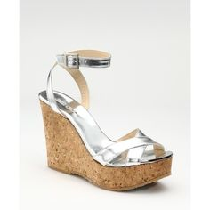 4ab87329d63 Jimmy Choo Mirrored Leather  amp  Cork Wedges ( 395) found on Polyvore Cork  Wedges