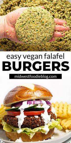 Vegetarian Breakfast, Vegan Vegetarian, Vegetarian Recipes, Vegetarian Burgers, Healthy Recipes, Burger Recipes, Best Vegan Burger Recipe, Burger Menu, Falafel Burgers