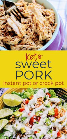If you're looking for a healthier way to get your Cafe Rio fix, try this keto copycat Cafe Rio sweet pork recipe! It can be made in the Instant Pot or slow cooker and is flavorful, moist, and tender. Don't miss this one! Keen for Keto | keto sweet pork | keto Cafe Rio | keto dinner Healthy Pork Recipes, Keto Recipes, Cooker Recipes, Soup Recipes, Diet Dinner Recipes, Keto Dinner, Sweet Pork Recipe, Cafe Rio Pork, Pork Salad