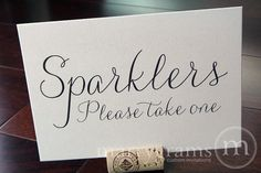 Sparklers Sign Table Card - Sparkler Send-off Wedding Reception Signage - Favor Table Sign - Matching Numbers Available SS01