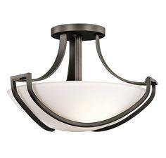 Kichler 42651OZ Owego 3-Light Semi-Flush in Olde Bronze in Ceiling Lights, Semi-Flush Mounts: ProgressiveLighting.com
