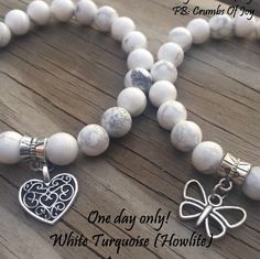 One day only! $3 less for 8mm beads White Turquoise (Howlite) Today $13!
