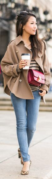 Warm Weekend :: Cape Trench & Soft Stripes by Wendy's Lookbook
