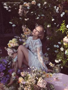 Floral lace white dress. Vogue, high fashion editorial