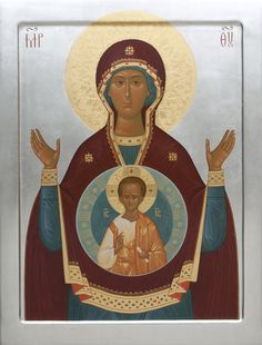 This icon of the Mother of God of the Sign is handpainted on a gessoed wooden board using egg tempera paints. A real masterpiece from the icon painting studio of St Elisabeth Convent Religious Images, Religious Art, Paint Icon, Images Of Mary, Byzantine Icons, Painting Studio, Catholic Art, Son Of God, Virgo