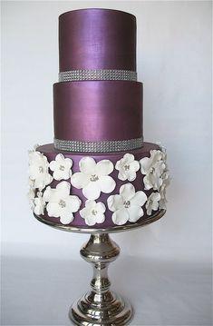 Purple Satin Wedding Cake with Jewel Trim & White Floral Detail