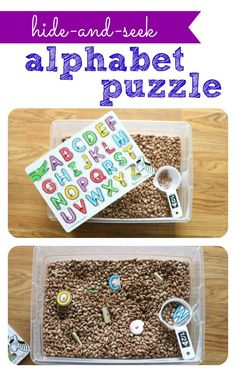 Hide-and-Seek Alphabet Puzzle in a Bean Tub