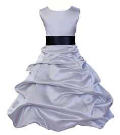 Wedding Pageant Silver Flower Girl Dress Special Occasions 806s 12. We used an additional petticoat for the picture that is not included with the dress. Material: Elegant Satin Poly / Crinoline Netting / Illusion Tulle. The elegant bodice feature is made out of Satin Poly. The waistline is decorated with a removable Sash to make this dress more elegant. The skirt has 4 layers (SEWN TOGETHER), top 1st layer is made of elegant satin poly., the 2nd layer is a soft satin lining, 3rd layer is…