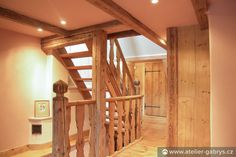 Ateliér Gabryš - Horská chalupa se stodolou Wooden Staircases, Pergola, Divider, Outdoor Structures, Furniture, Home Decor, Atelier, Decoration Home, Wooden Stairs