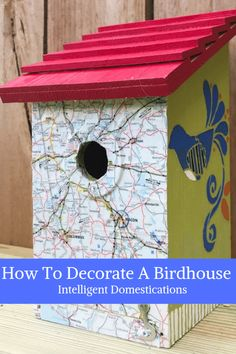 Painting Birdhouses is a fun and easy birdhouse craft for any time of the year. We have painted a whole collection of decorative birdhouses for a new fence shelf in our backyard to invite more birds to stop by. You will find several here along with the st Map Crafts, Home Crafts, Diy Home Decor, Decor Crafts, Decorative Bird Houses, Bird Houses Painted, Painted Birdhouses, Birdhouse Craft, Bird Boxes