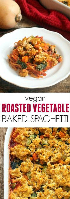 Fall Vegetable Baked Spaghetti with Pumpkin Sage Tofu Ricotta...a super easy, comforting, and delicious vegan meal!