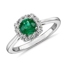 Brilliant in every way, this gemstone and diamond ring features a rich emerald surrounded by sparkling micropavé diamonds set in white gold. Emerald Diamond, Halo Diamond, Diamond Rings, Gemstone Rings, Gold Ring, Blue Nile Jewelry, Emerald Jewelry, Gold Jewelry, Jewelry Rings
