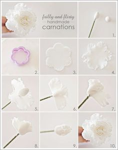 How to make carnations for decorating cupcakes, cakes, etc. (Half Baked the cake blog).