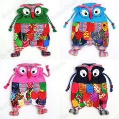 4 Color Fashion Chinese National Style Kid Children Handmade Flax Owl Bag Backpack Purse