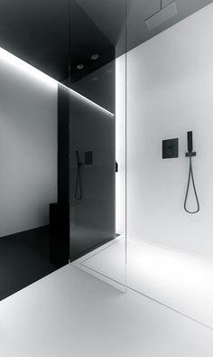 House in Mokotow — Oporski Architektura - Luxery Houses Master Bathroom Shower, Minimal Bathroom, Painted Wooden Floors, Futuristic Home, Shower Enclosure, Minimalist Interior, Bathroom Interior Design, Bath Design, Bathroom Inspiration