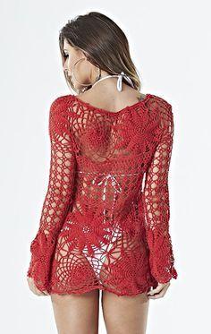 Instructions in Portuguese + charts in PDF Crochet Bikini Top, Crochet Top, Crochet Pattern, Sexy Outfits, Russian Crochet, Crochet Shirt, Beachwear For Women, One Piece Swimwear, Crochet Clothes